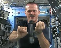 Chris Hadfield and microphone