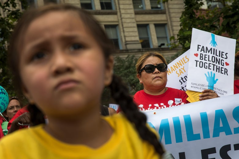 Activists, including childcare providers, parents and their children, protest against the Trump administrations recent family detention and separation policies for migrants along the southern border, near the New York offices of U.S. Immigration and Customs Enforcement.