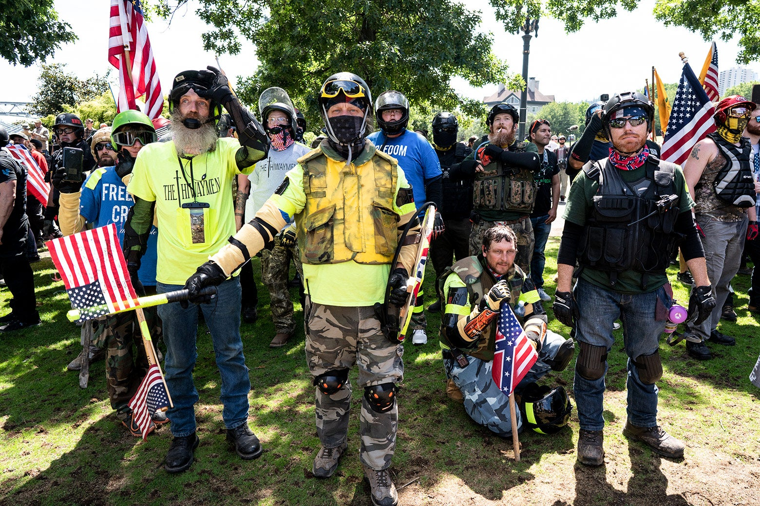 The Proud Boys, a far right group supportive of President Donald Trump, organized the Patriot Prayer Rally for far right protesters.