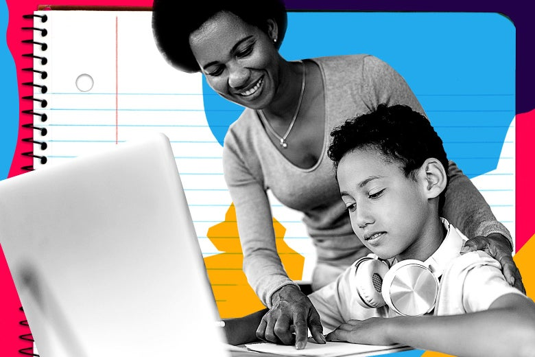 A mom smiles at her son, who is looking disgruntled while working on a laptop.