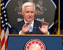 Pennsylvania Gov. Tom Corbett announcing changes in the Department of Health.