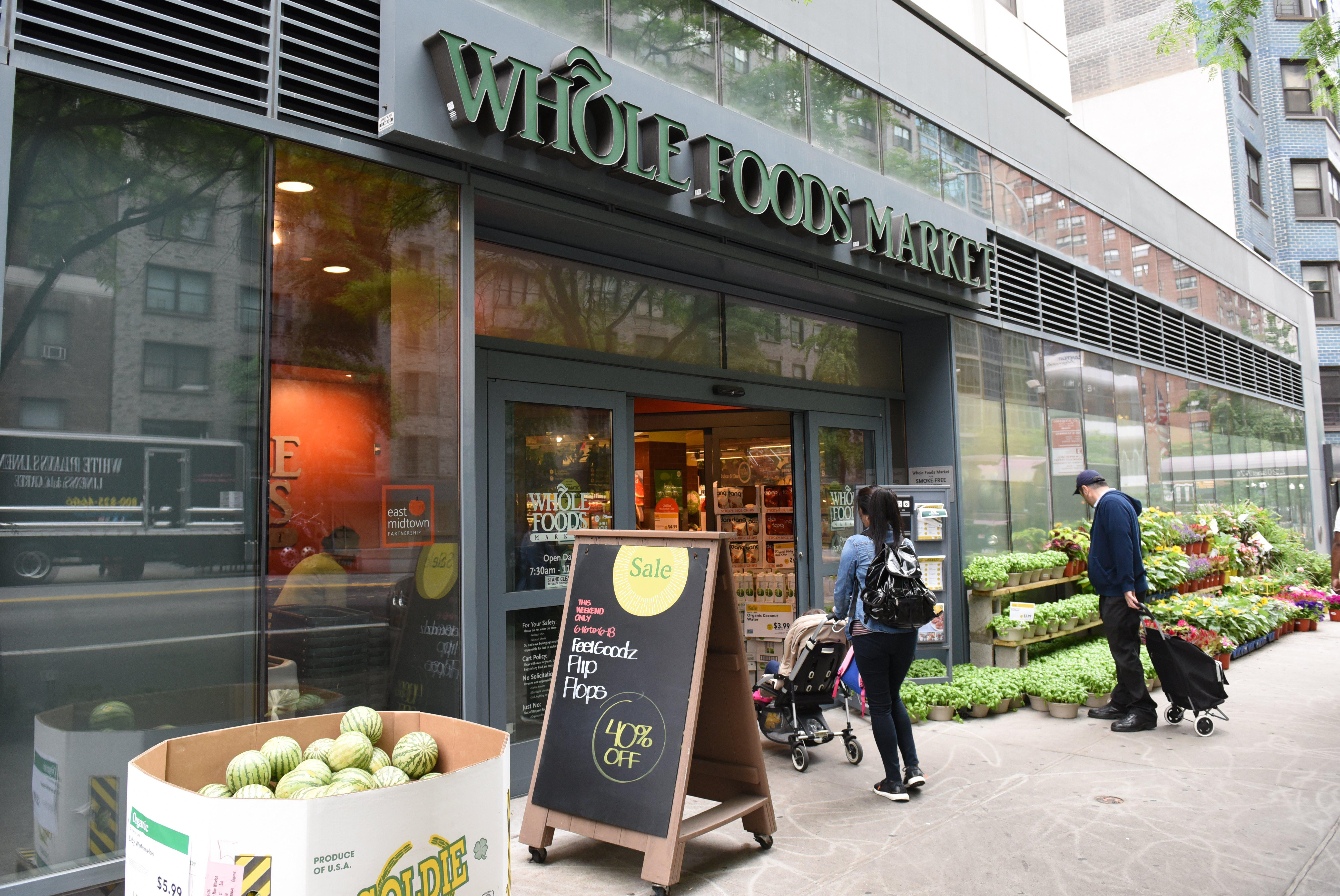 The exterior of the Whole Foods Market in Midtown New York City on June 16, 2017.
