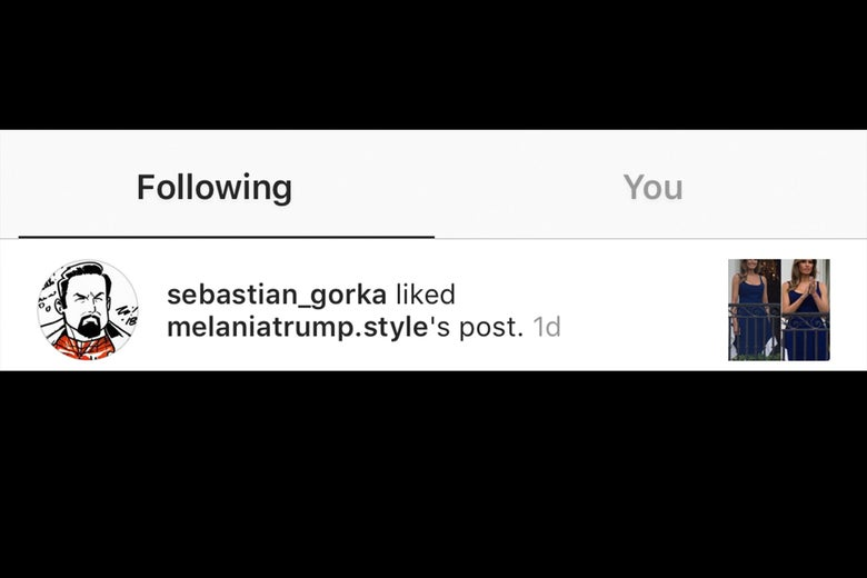 Sebastian Gorka faves a photo from a Melania Trump fan account.