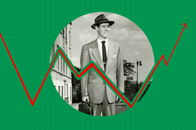 A midcentury businessman in a suit and fedora, holding a briefcase and smiling. A stock chart–like graph is seen imposed over his photo.