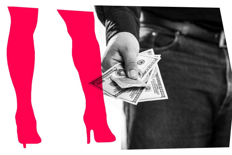 Cutout of knee-high high-heeled boots and a photo of a man holding out money and a condom