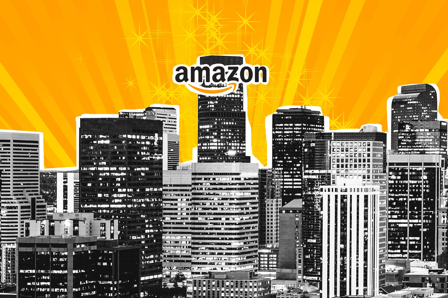 Light shines from the skyline of a city with a building labeled Amazon.
