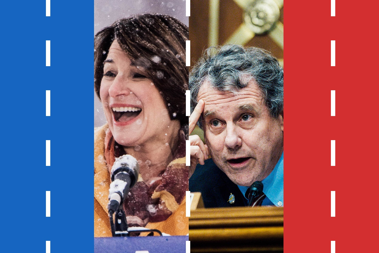 Amy Klobuchar and Sherrod Brown, flanked by a blue lane of traffic on the left and a red lane of traffic on the right.