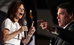 Texas Gov. Rick Perry and Rep. Michele Bachmann. Click to expand image.
