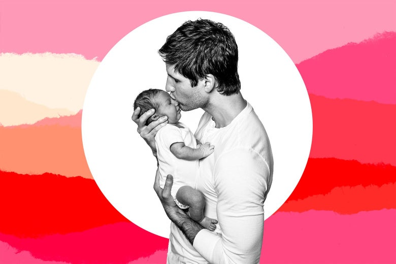 A thirtysomething man holds and kisses his infant.