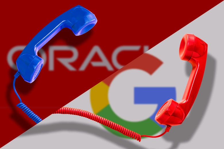 Split screen of phone receivers with the Oracle and Google logos behind them.