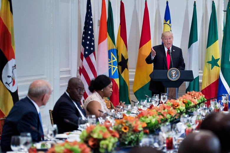 President Donald Trump speaks before a luncheon with U.S. and African leaders on Sept. 20 in New York.