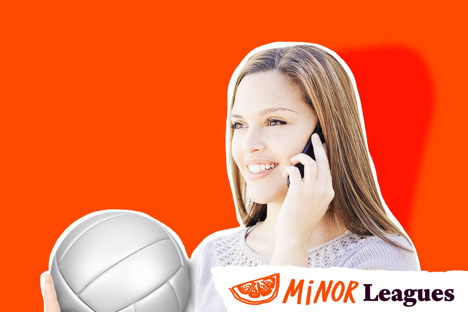 Teenager talking on her cellphone while holding a volleyball in her other hand.
