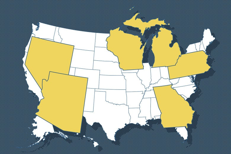 U.S. map with Nevada, Arizona, Wisconsin, Michigan, Pennsylvania, and Georgia in yellow and blown up in proportion to the other states