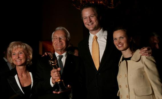German director and Oscar winner Florian Henckel von Donnersmarck, his wife Christiane, and Bavarian state governor Edmund Stoiber and his wife Karin pose with the Oscar for Best Foreign Language Film The Lives of Others, March 20, 2007, in Munich.