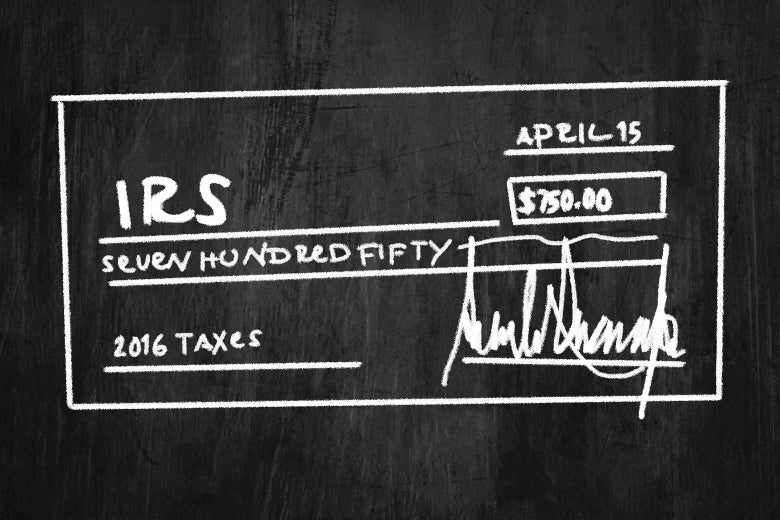 A check for $750 to the IRS, scrawled on a blackboard.
