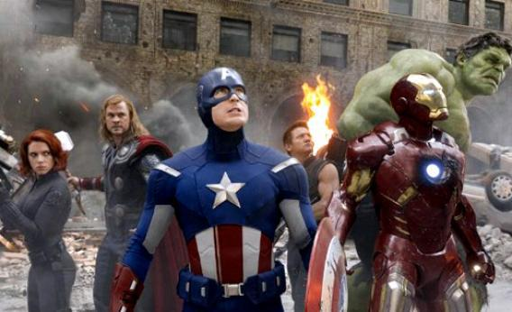 Scarlett Johansson, Chris Hemsworth, Chris Evans, Jeremy Renner, Robert Downey Jr., and Mark Ruffalo in The Avengers.