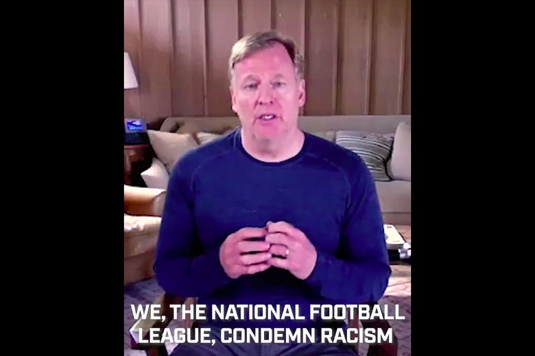 """Screenshot of Roger Goodell on video with the subtitle """"We, the National Football League, condemn racism."""""""