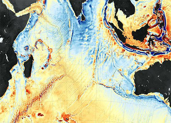 Gravity map of the ocean floor reveals