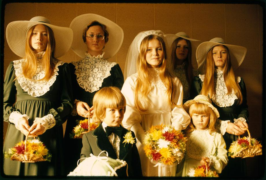 "Photograph of a bride and her attendants in New Ulm, Minnesota."" Art Hanson, New Ulm, Minnesota, October 1974"
