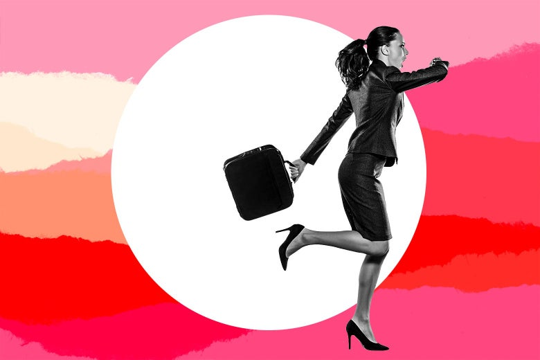 A business woman wearing a suit and high heels carrying a briefcase runs.