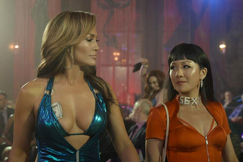 Jennifer Lopez and Constance Wu in Hustlers.