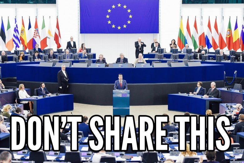 "Meme text reading ""Don't Share This"" imposed over a speech event by Macedonian Prime Minister Zoran Zaev."