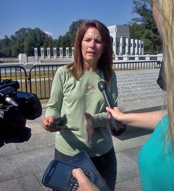 Michelle Bachmann at the World War II memorial in Washington, DC.