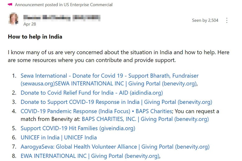 A screenshot of a Microsoft message.