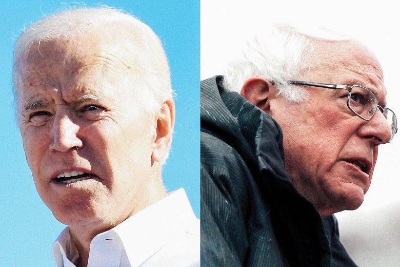 Biden and Sanders seen in close-up head shots.