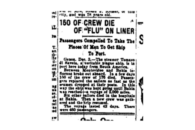 """150 OF CREW DIE OF 'FLU' ON LINER"" reads the headline on an old news clipping."