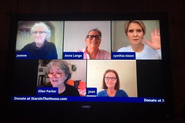 Five cast members of The Heidi Chronicles on video chat.
