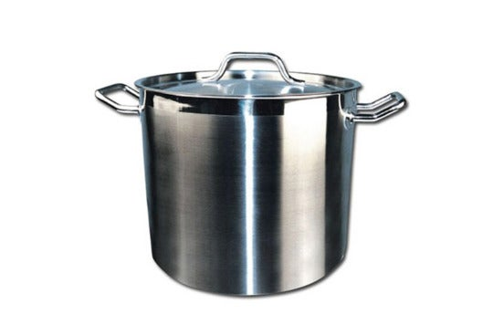 Winware Stainless 20-Quart Steel Stock Pot.