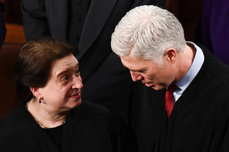 Elena Kagan speaks with Neil Gorsuch at the U.S. Capitol on Feb. 4