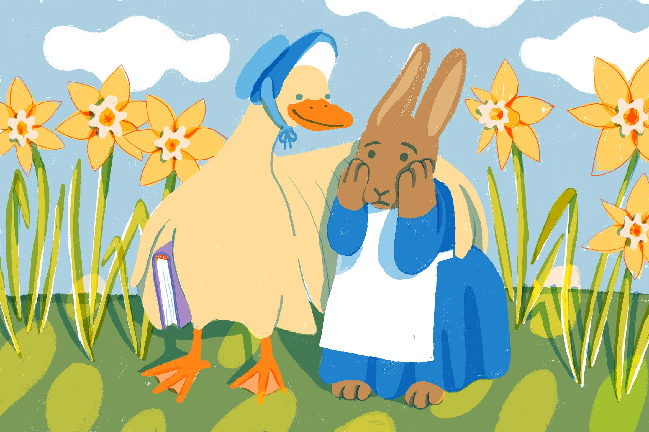 Goose wearing a bonnet consoling a stressed rabbit wearing a dress and apron.