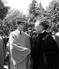 Mitt and George Romney on Commencement Day, June 1965