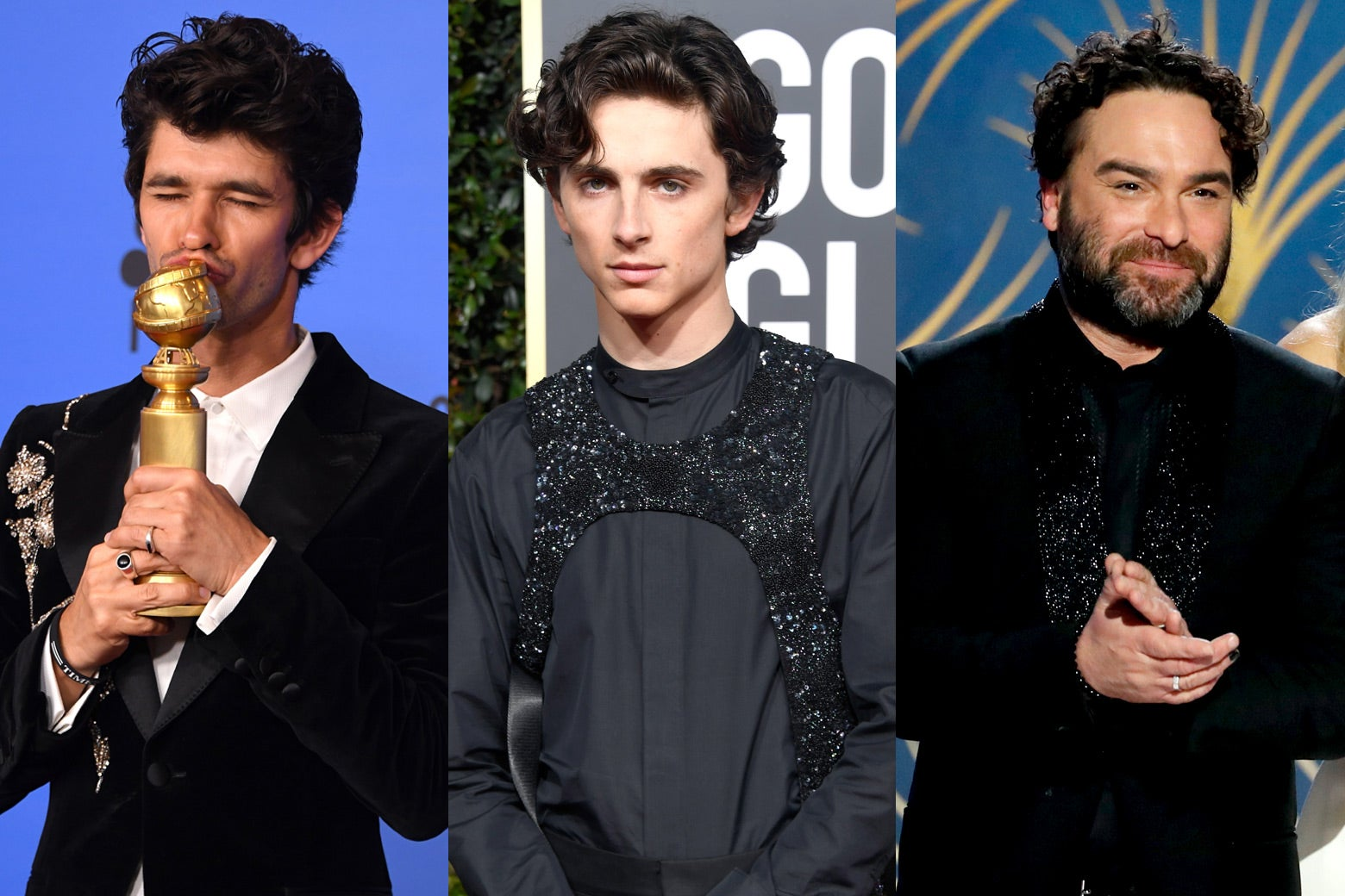 Ben Whishaw, Timothee Chalamet, and Johnny Galecki at the 2019 Golden Globes.