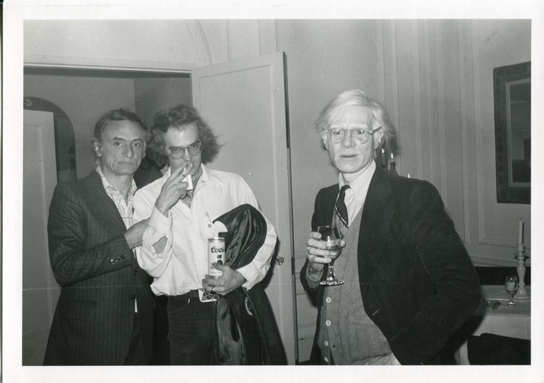 Andy Warhol with Artist Larry Rivers and Architect François de Menil, Whose Mother Dominique de Menil had Mentored Fred Hughes in Houston, ca. 1980