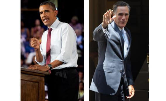 President Barack Obama at a campaign rally in Leesburg, Virginia and Mitt Romney at Downing Street in central London.