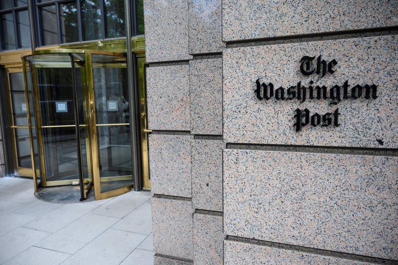The building of the Washington Post newspaper headquarter is seen on K Street in Washington DC on May 16, 2019.