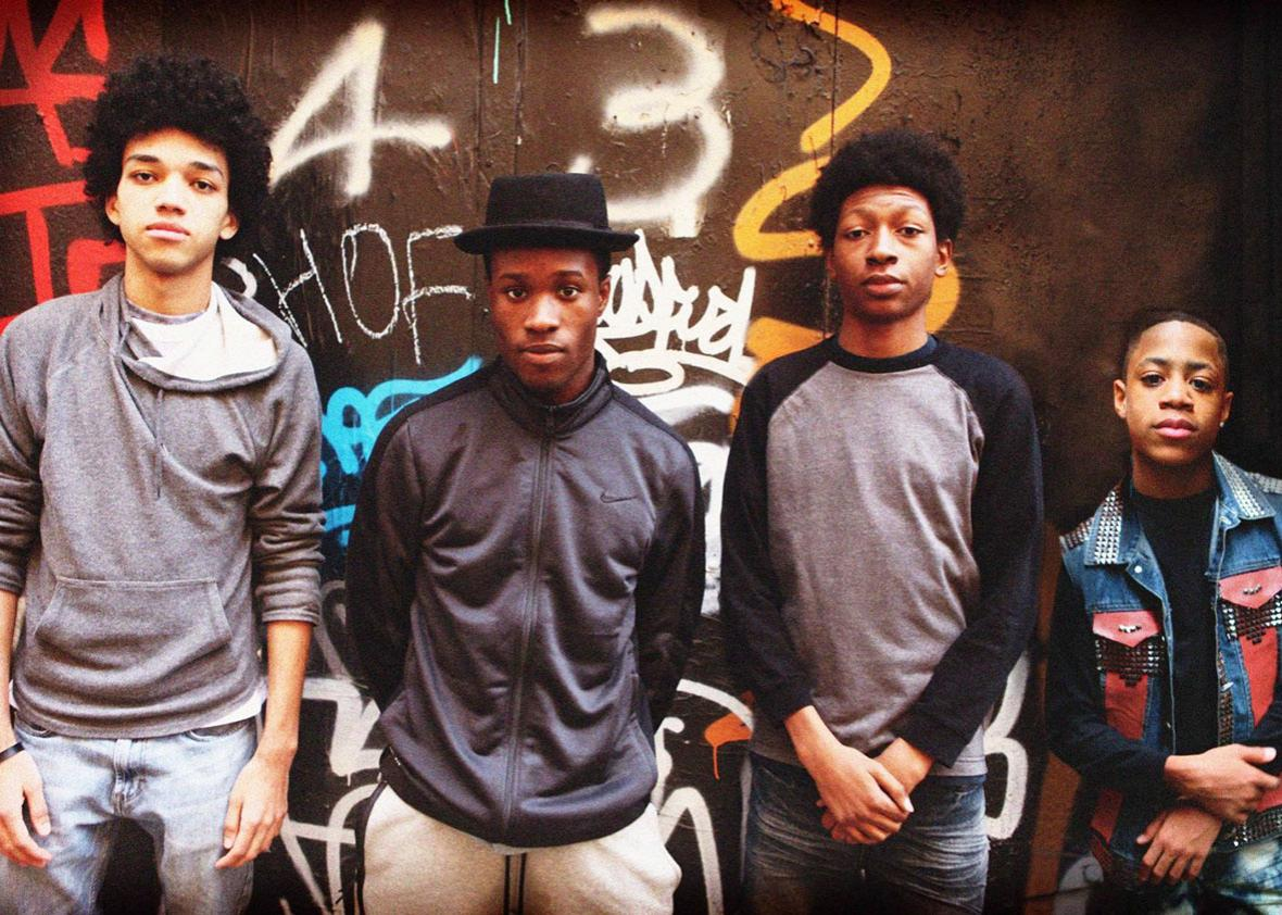 Skylan Brooks, Shameik Moore, Justice Smith, and Tremaine Brown Jr. in The Get Down.