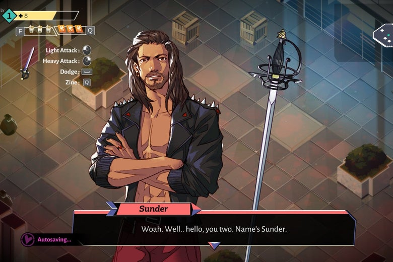 A shirtless man with long brown hair and a black shirt stands next to a sword. They are in a dungeon.