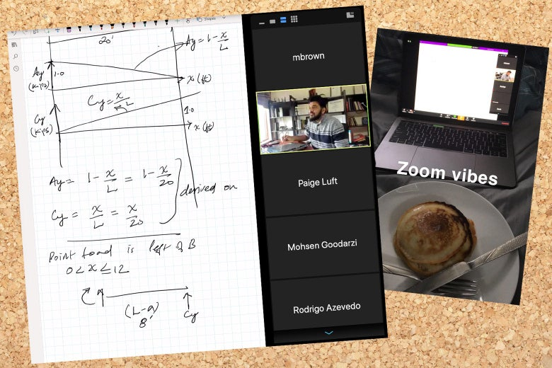 A still of math-related scribbles from risk analysis class on zoom, and a separate snapchat of pancakes in front of a laptop.
