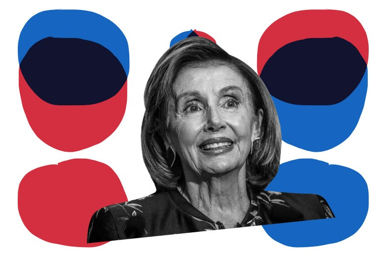 Nancy Pelosi surrounded by blue and red circles, some of which are arranged Venn diagram–style.