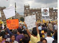 "As many as 250,000 supporters of Andrés Manuel López Obrador gathered in Mexico City's central square July 8, some carrying signs with angry messages like ""No to F____g Fraud"" and ""Fox and Calderón: Traitors to Democracy""          Click image to expand"