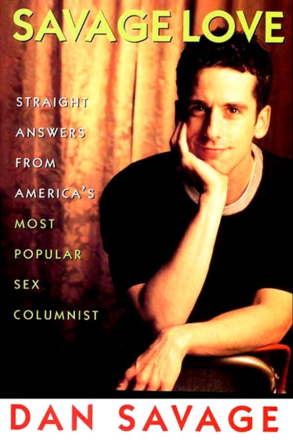 The cover of the book Savage Love, on which Dan Savage sits in a chair, resting his chin on one hand.