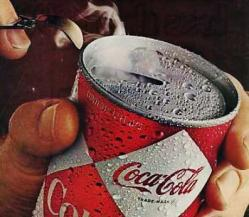 1970's Advertisement for Coca-Cola in a can.