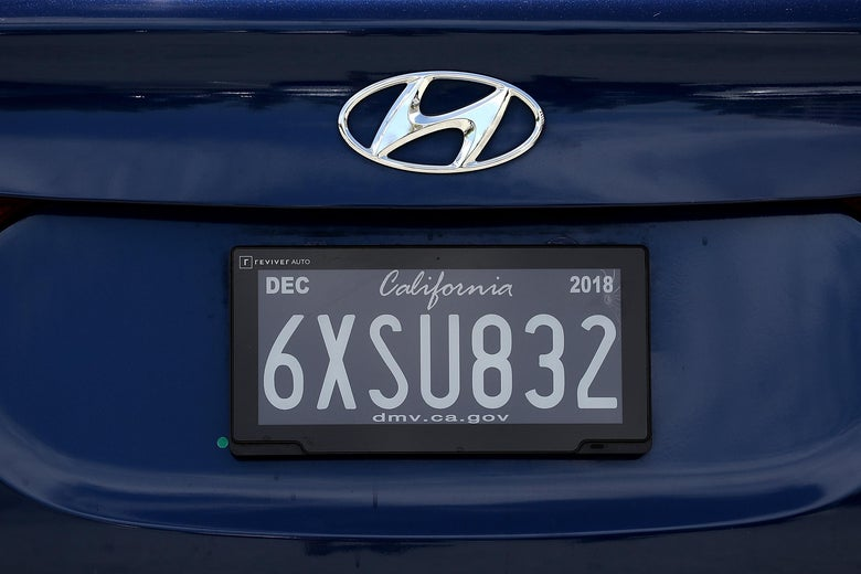 A license plate for a California car.
