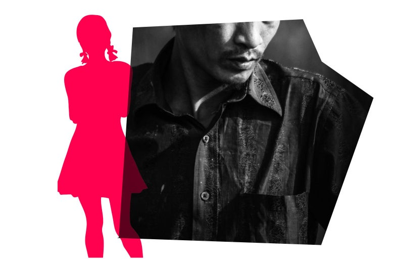 Photo of a man next to a silhouette of a teen girl