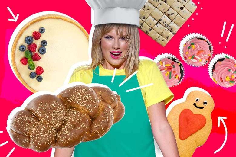 Taylor Swift, wearing a baker's hat and apron, surrounded by bread and cake on a red/magenta background.
