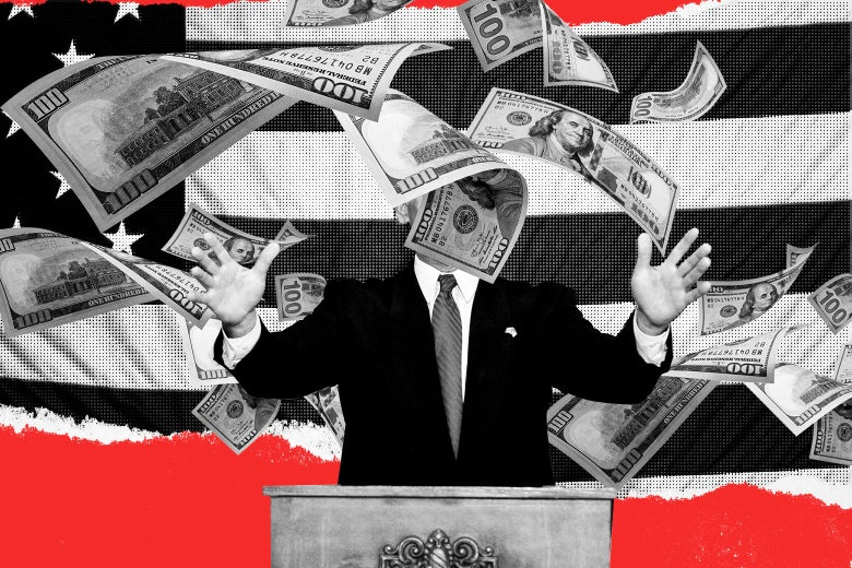 A political candidate at a podium with his face obscured by 100-dollar bills floating in the air.